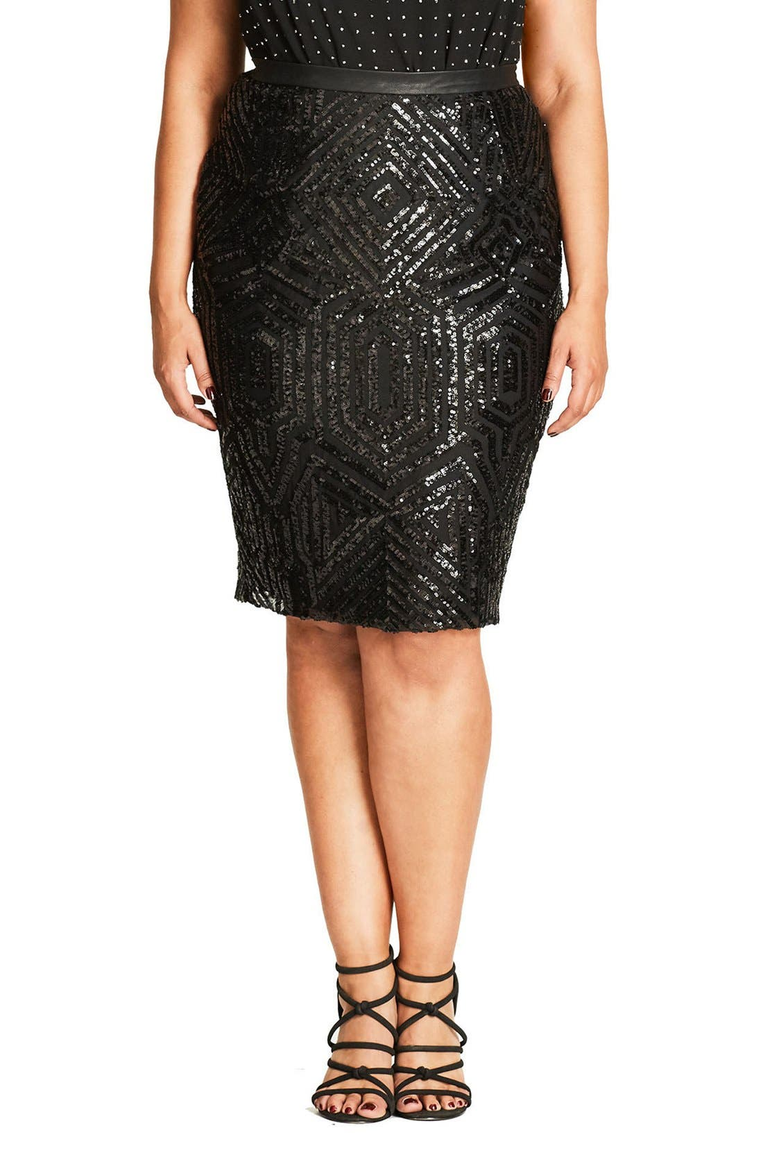 CITY CHIC Geo Sequin Pencil Skirt