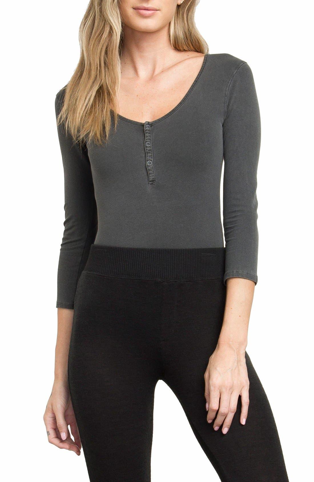 Alternate Image 1 Selected - RVCA Pretender Henley Bodysuit