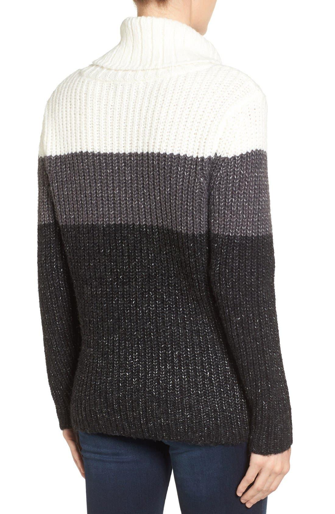 Alternate Image 2  - Press Stripe Knit Turtleneck Sweater