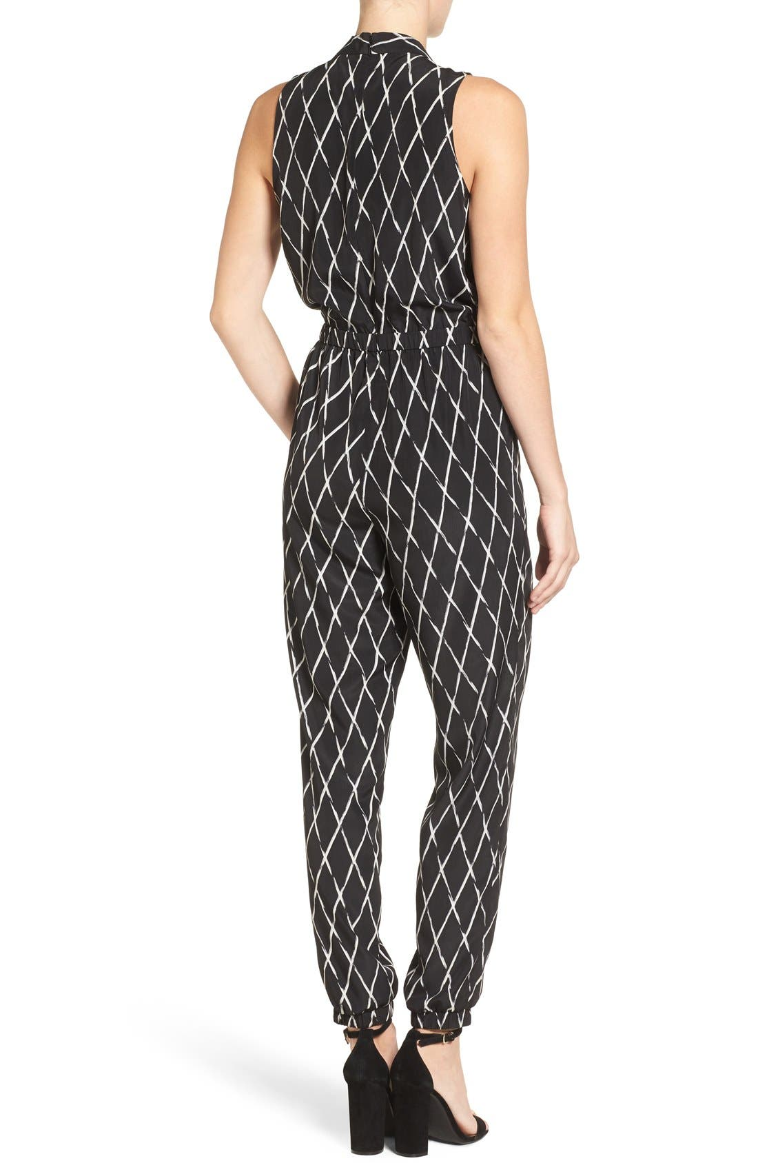 Alternate Image 2  - Halogen® V-Neck Sleeveless Jumpsuit (Regular & Petite)