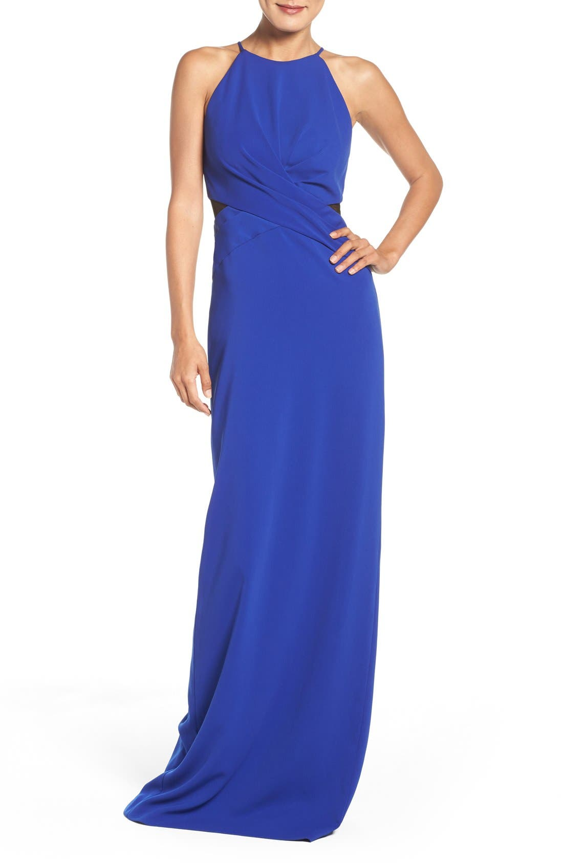 Main Image - Badgley Mischka Mesh Inset Gown