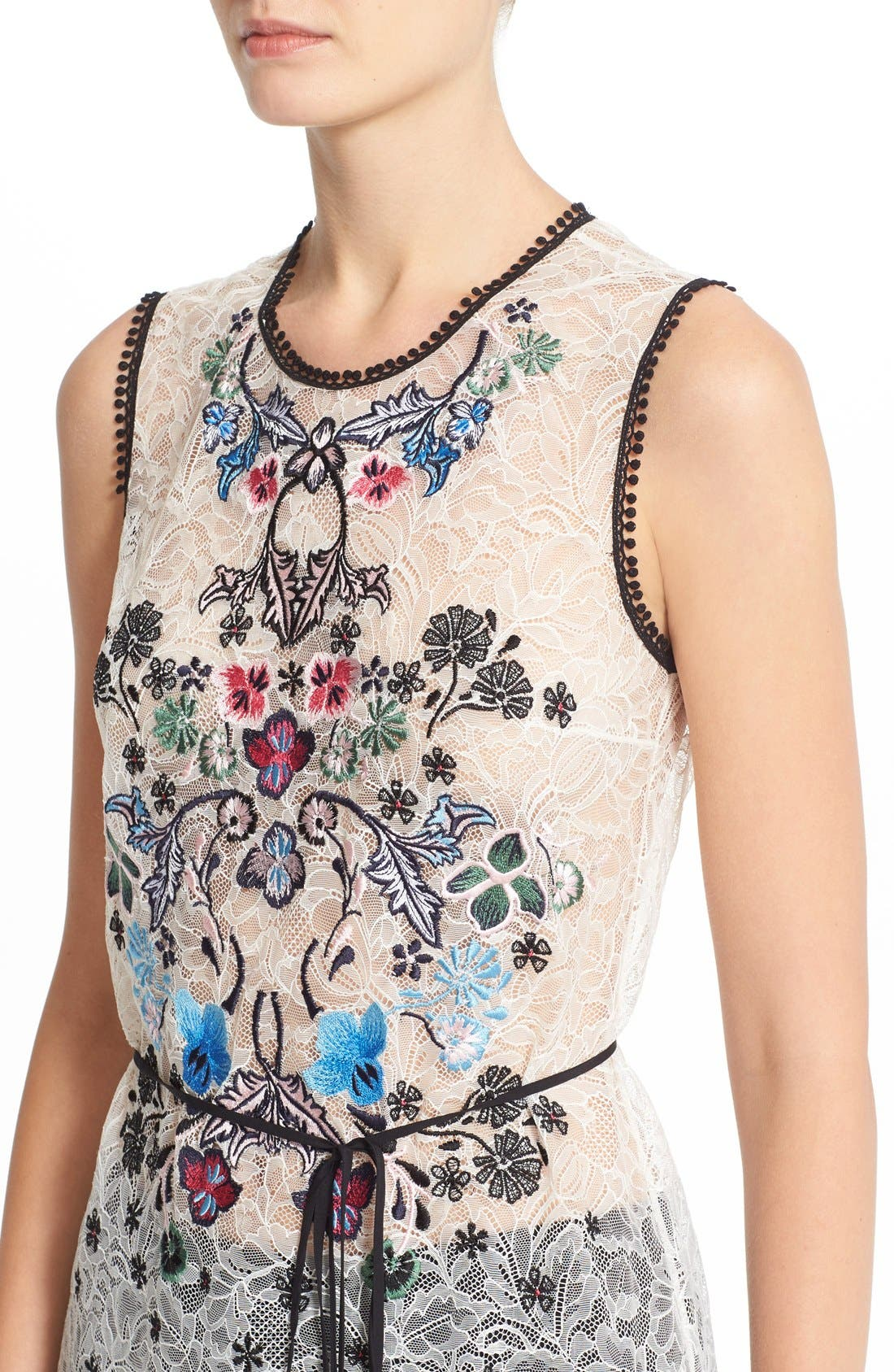 Alternate Image 6  - Yigal Azrouël Floral Embroidered Lace Top