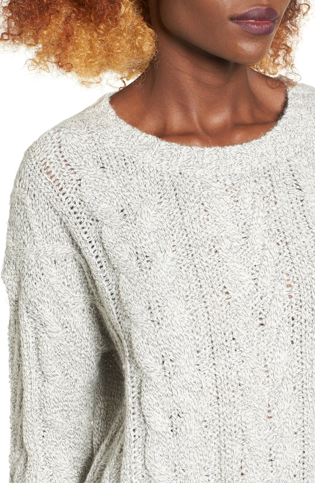Alternate Image 4  - Love by Design Marled Cable Knit Pullover