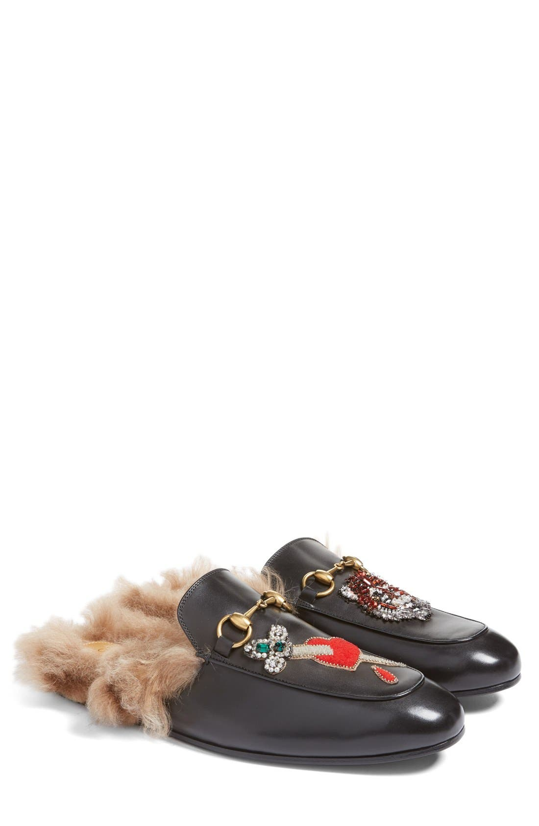 Alternate Image 5  - Gucci Princetown Genuine Shearling Lined Mule Loafer (Men)
