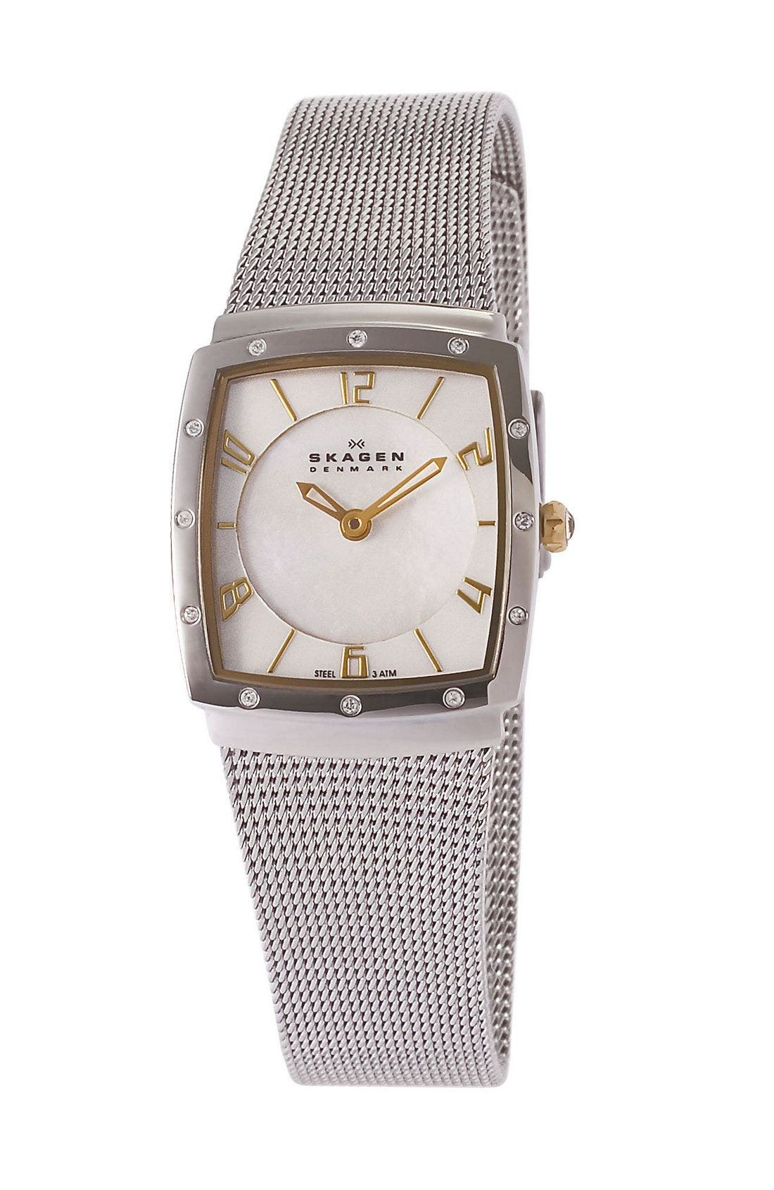 Alternate Image 1 Selected - Skagen Square Mesh Strap Watch, 25mm
