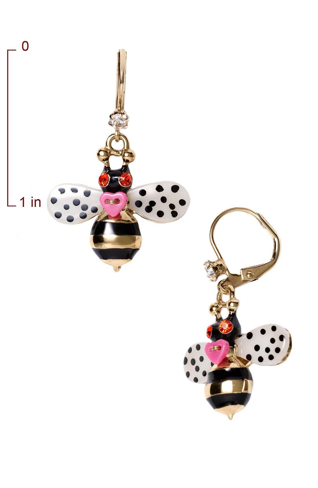 Alternate Image 2  - Betsey Johnson 'Flower Girl' Bee Drop Earrings