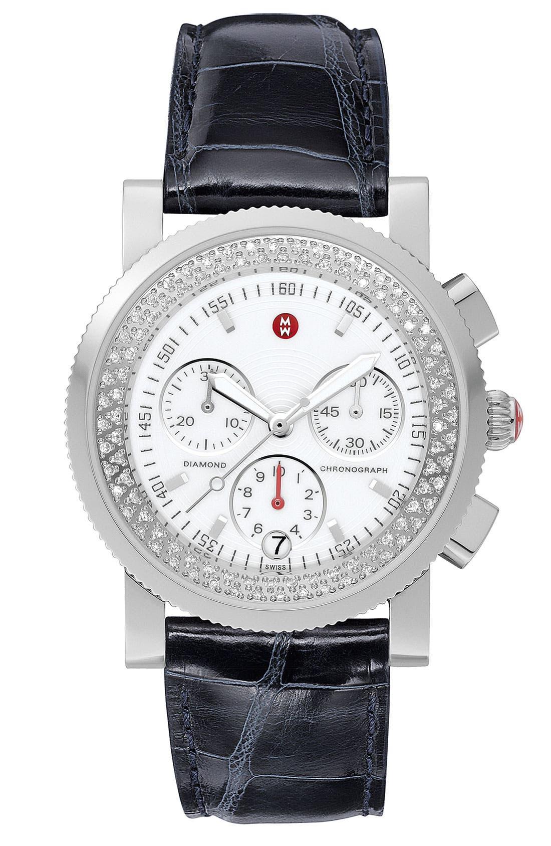 Alternate Image 1 Selected - MICHELE 'Sport Sail' Diamond Watch Case & 20mm Black Alligator Strap