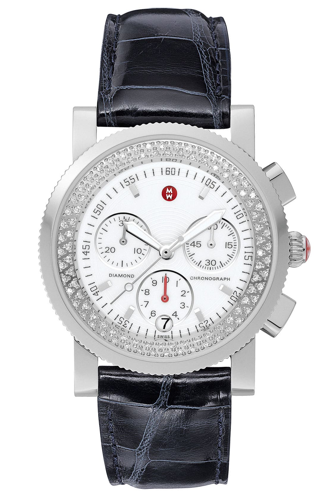 Main Image - MICHELE 'Sport Sail' Diamond Watch Case & 20mm Black Alligator Strap