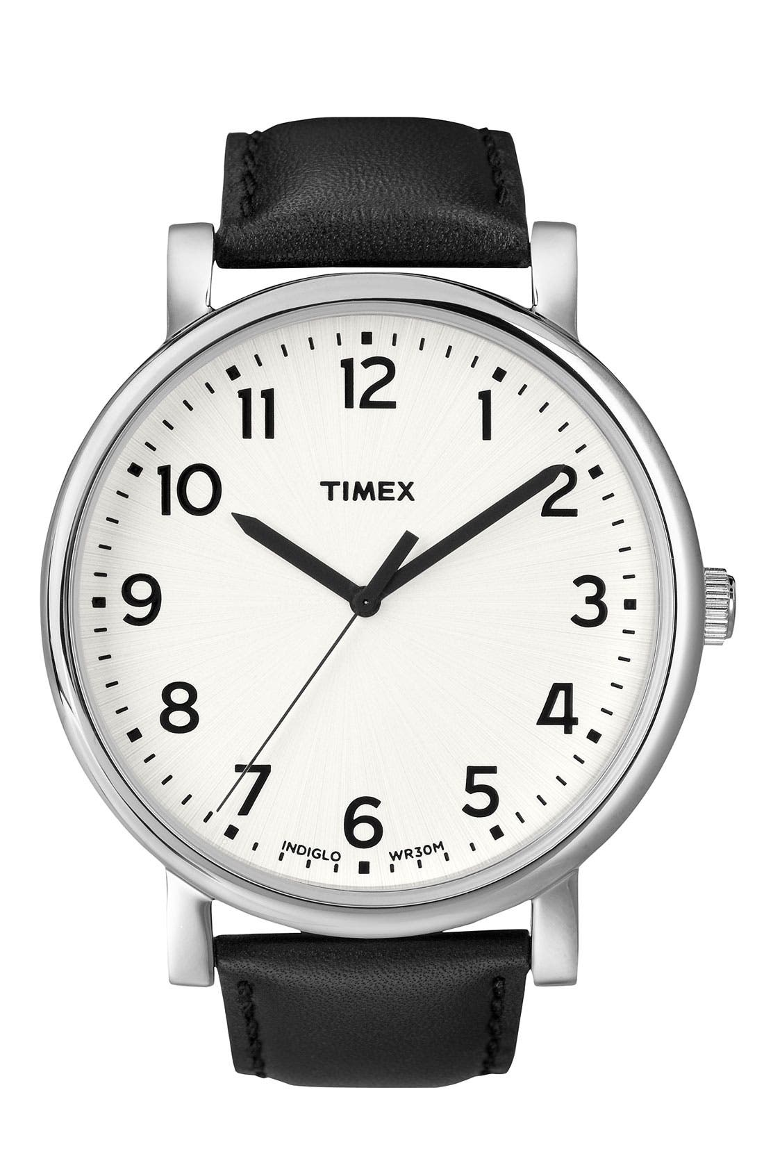 Main Image - Timex® 'Easy Reader' Leather Strap Watch, 42mm