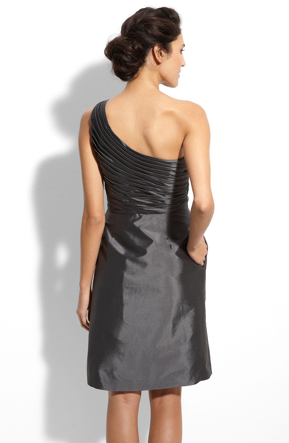 Alternate Image 2  - ML Monique Lhuillier Bridesmaids One Shoulder Taffeta Dress