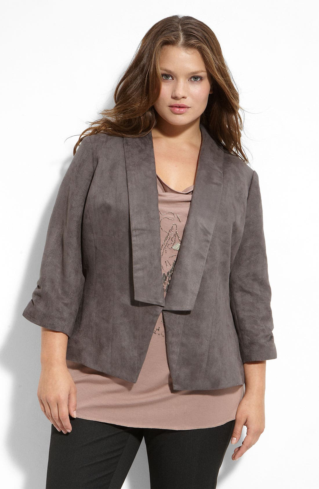 Alternate Image 1 Selected - Sejour Faux Suede Shawl Collar Jacket (Plus)