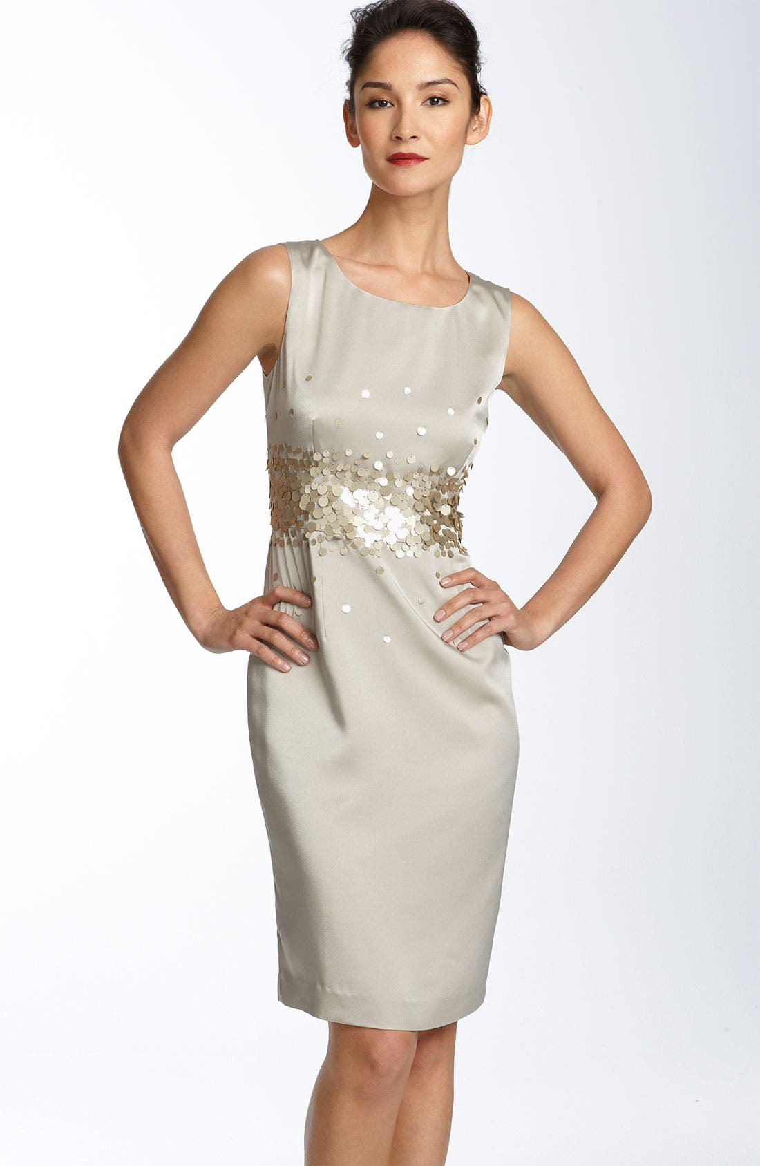 Alternate Image 1 Selected - Calvin Klein Paillette Stretch Satin Sheath Dress