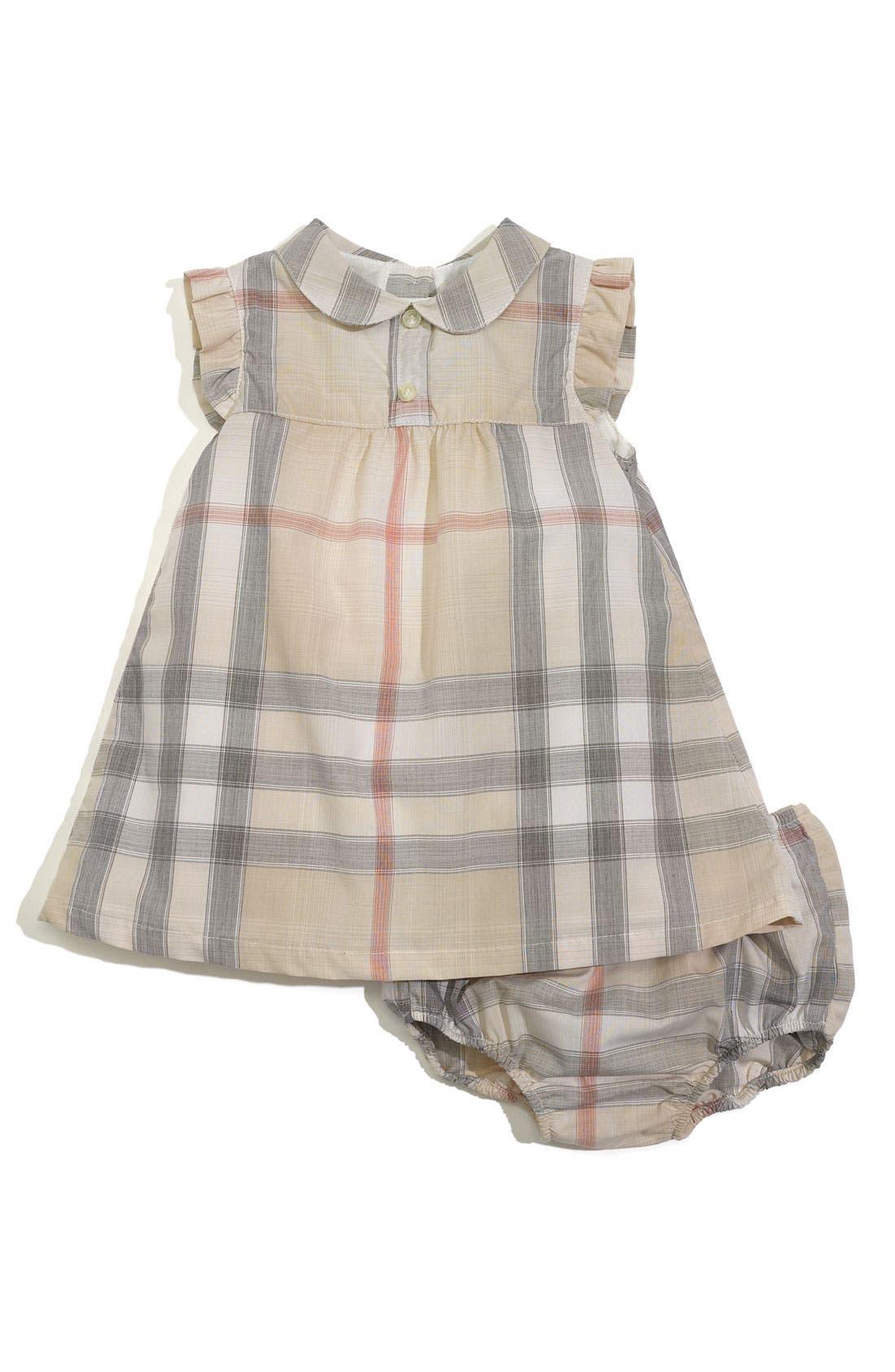 Main Image - Burberry Sleeveless Dress & Diaper Cover (Infant)
