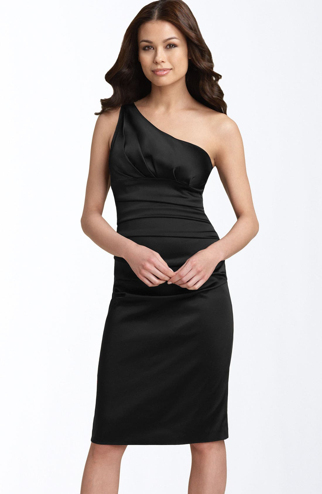 Main Image - Suzi Chin for Maggy Boutique Stretch Satin Sheath Dress