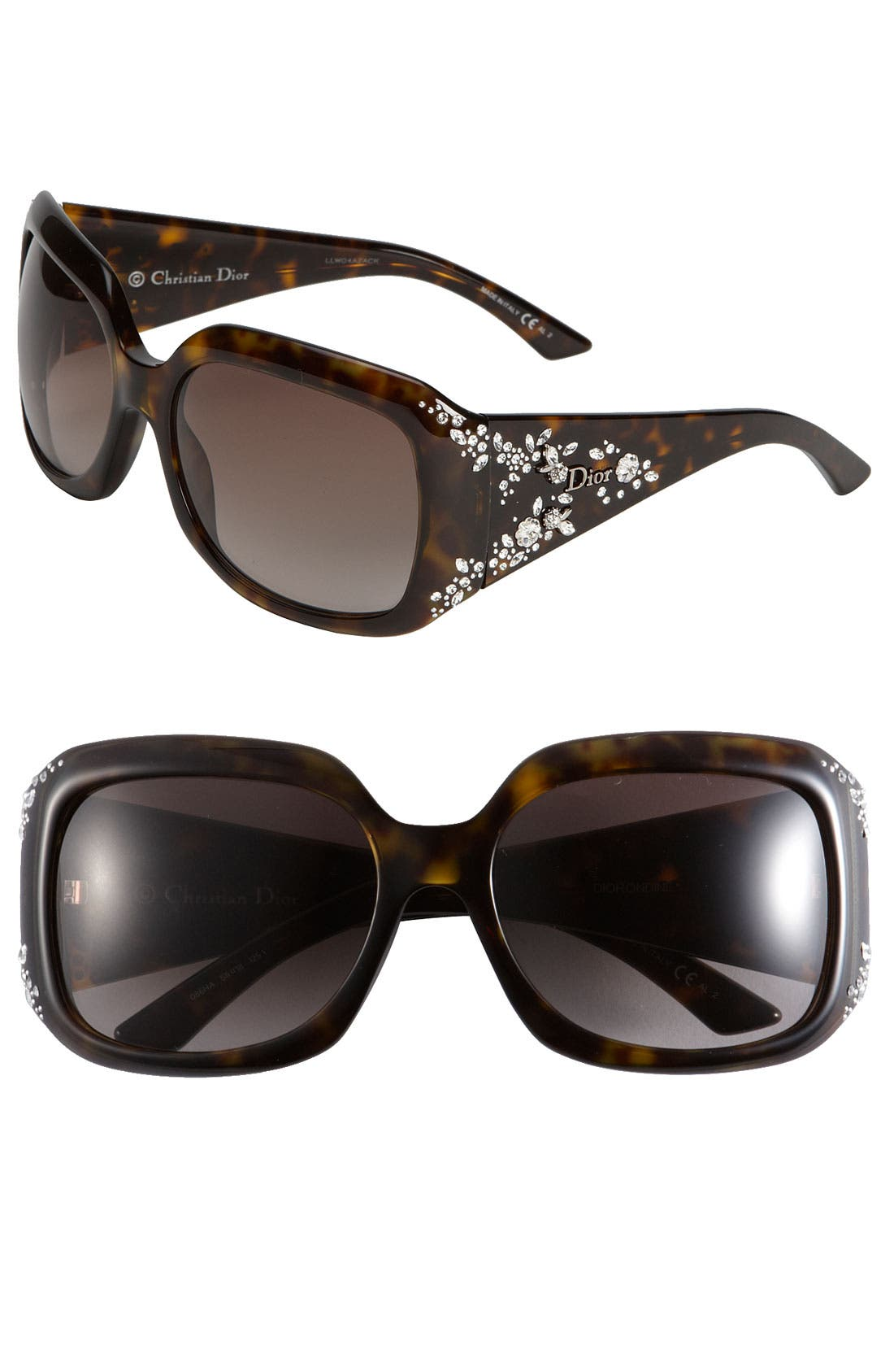Main Image - Dior 'Ondine' Crystal Flower Temple Sunglasses
