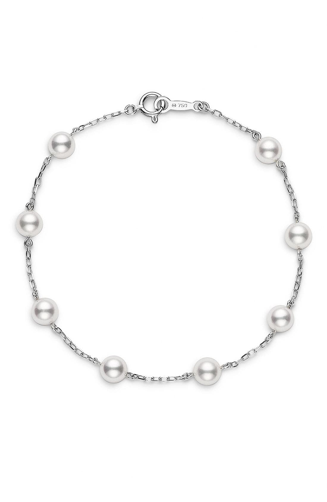 Alternate Image 1 Selected - Mikimoto Akoya Cultured Pearl & Chain Bracelet