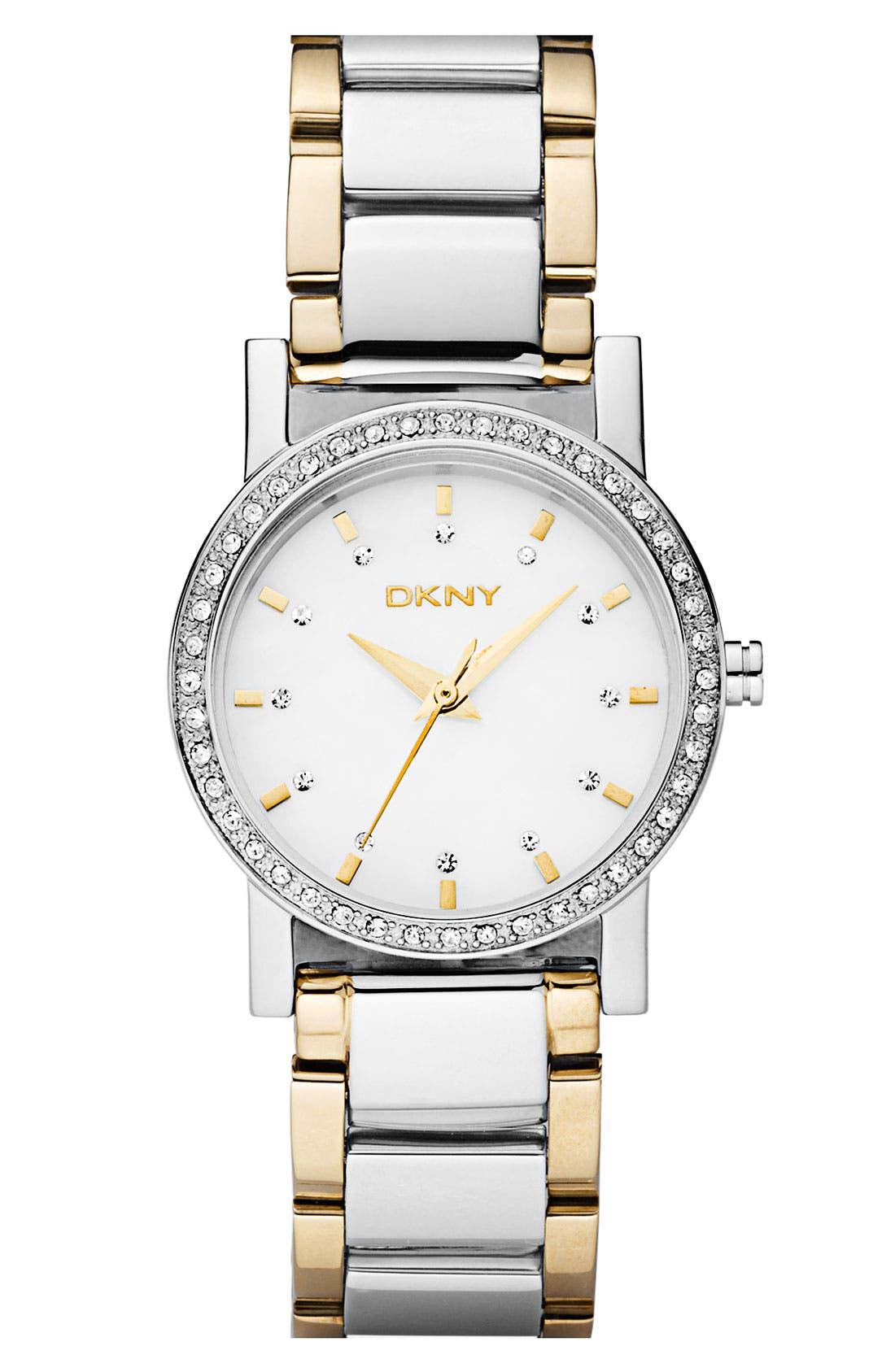 Main Image - DKNY 'Glitz' Round Two Tone Bracelet Watch