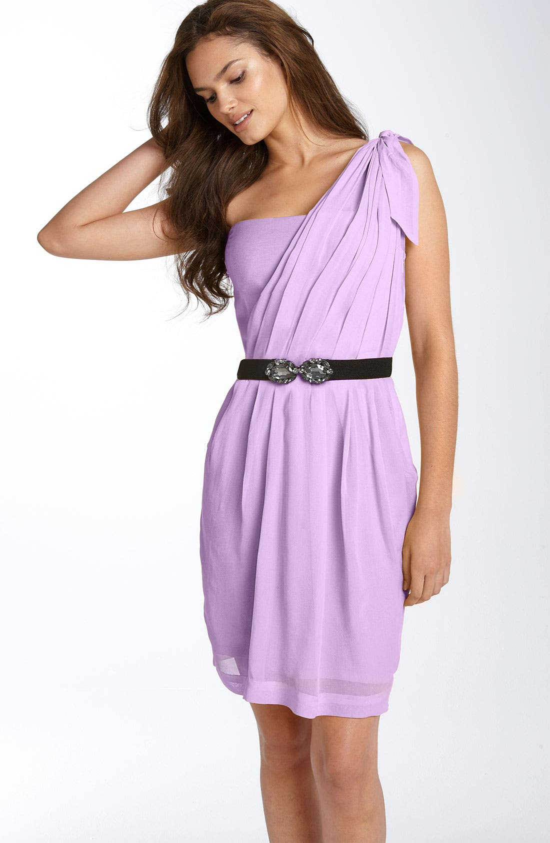 Main Image - BCBGMAXAZRIA One Shoulder Chiffon Dress
