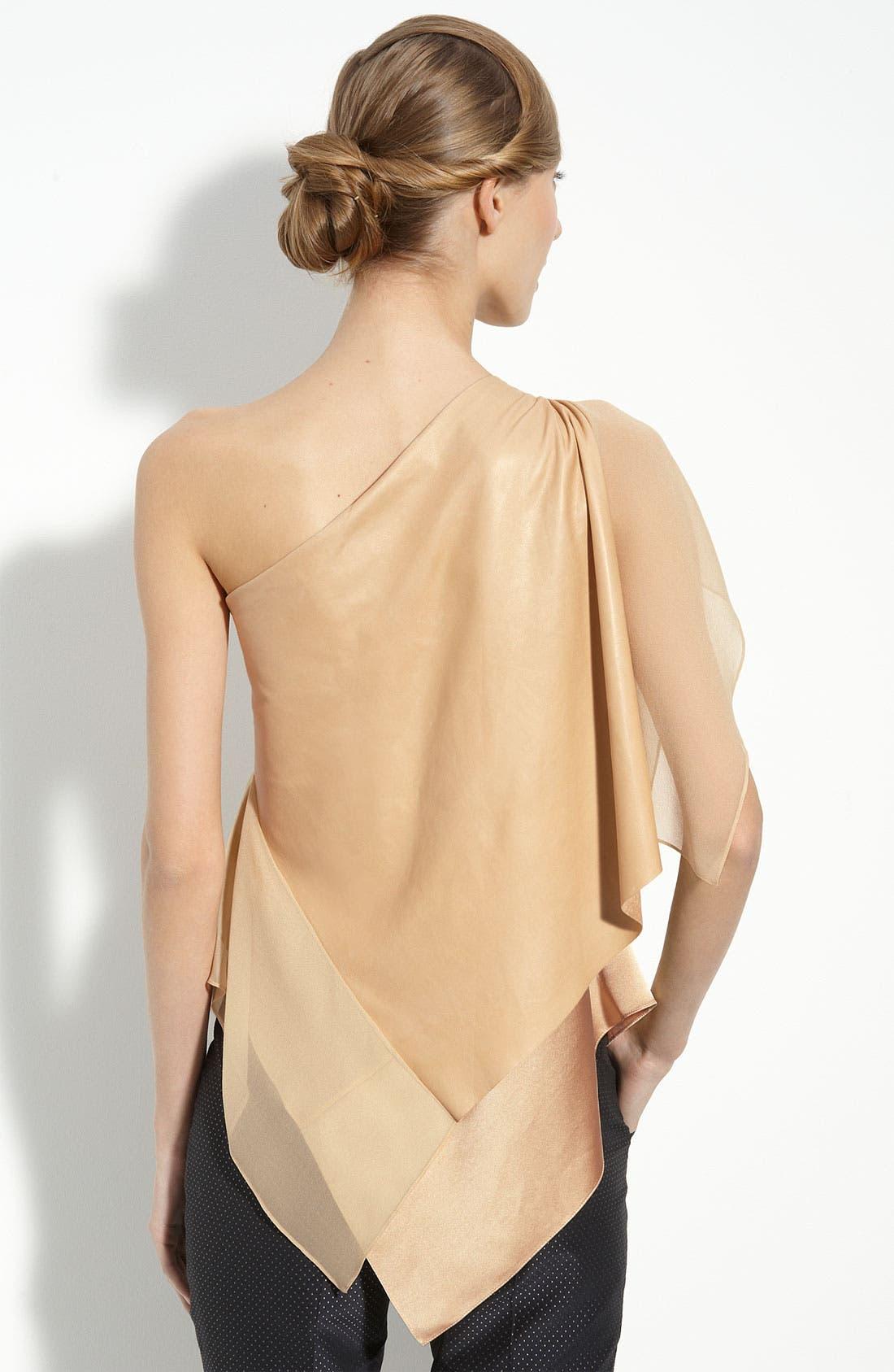 Alternate Image 2  - 3.1 Phillip Lim Silk & Leather One Shoulder Top