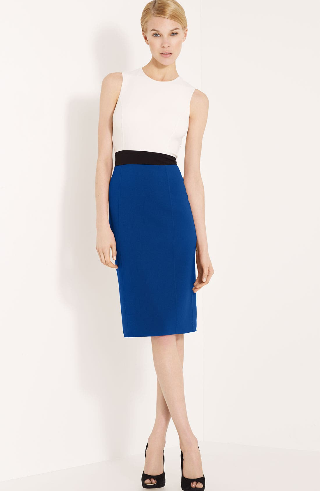 Main Image - Michael Kors Colorblock Stretch Wool Crepe Dress