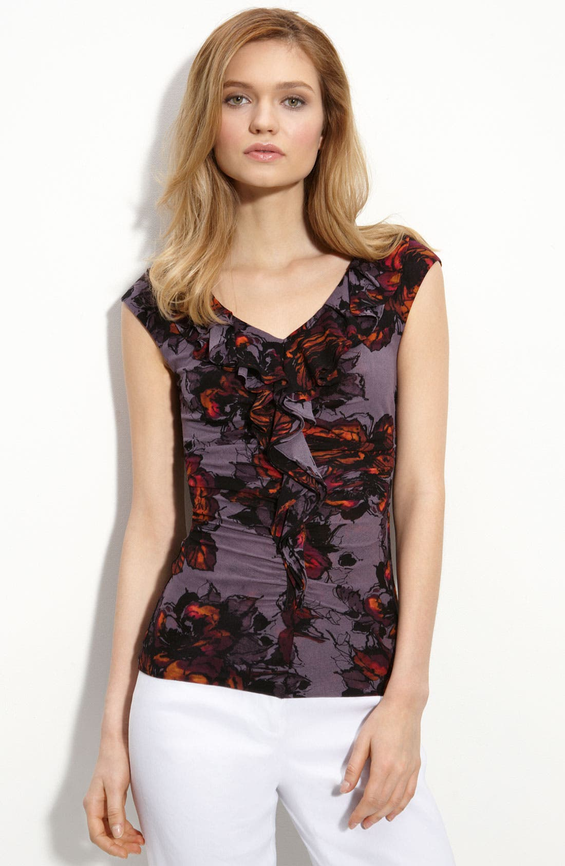 Alternate Image 1 Selected - Classiques Entier® Ruffle V-Neck Top