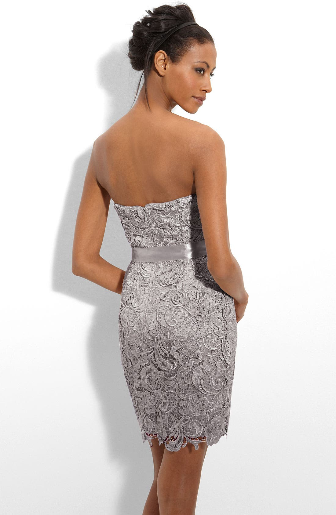 Alternate Image 2  - Adrianna Papell Strapless Lace Sheath Dress
