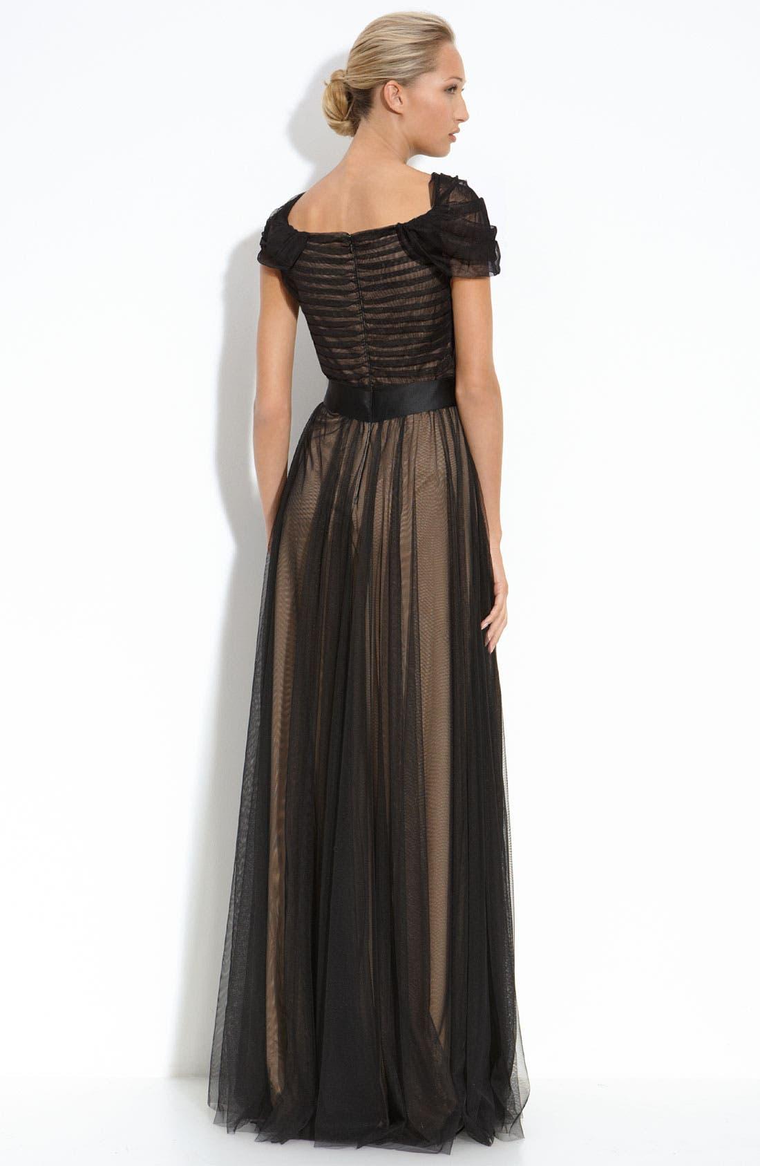 Alternate Image 2  - Tadashi Shoji Tulle Overlay Gown