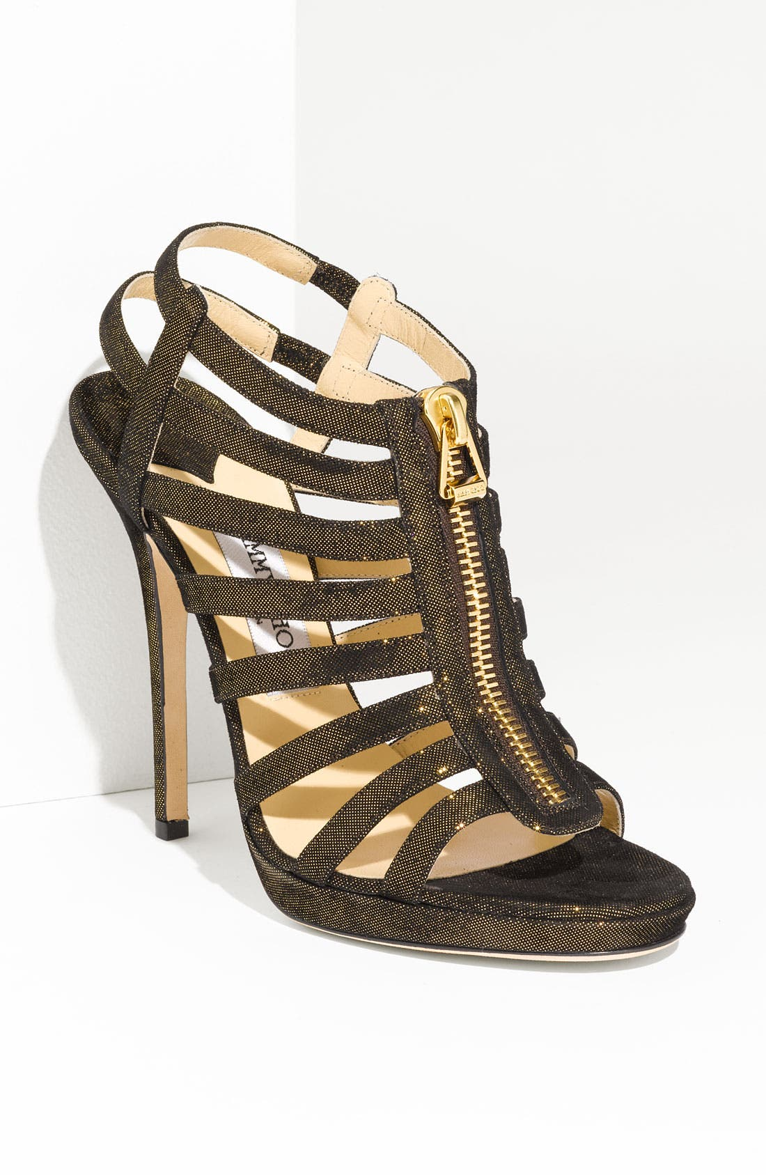 Main Image - Jimmy Choo 'Glenys' Glitter Suede Caged Sandal