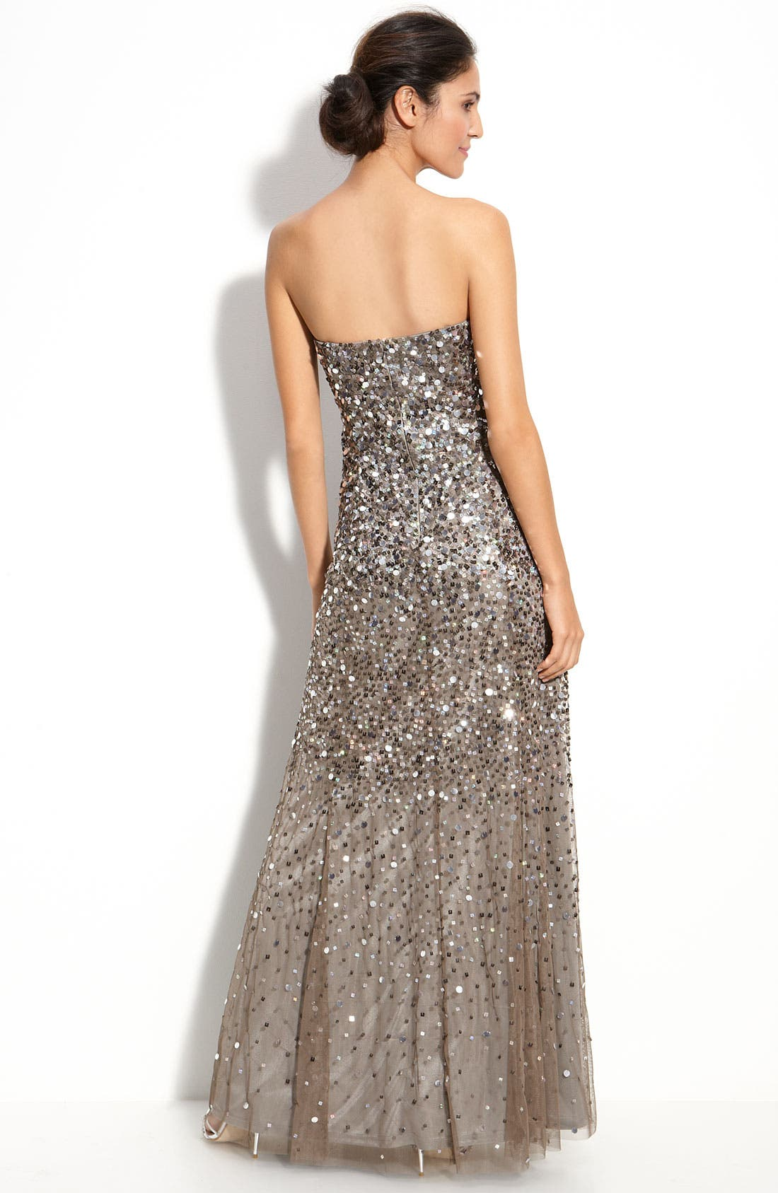 Alternate Image 2  - Adrianna Papell Sequined Strapless Mesh Gown