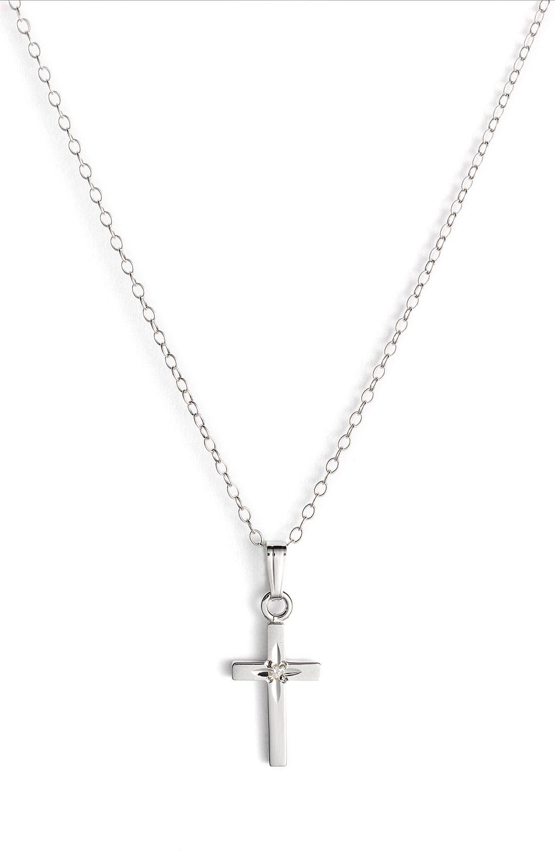 Silver & Diamond Cross Pendant (Infant)