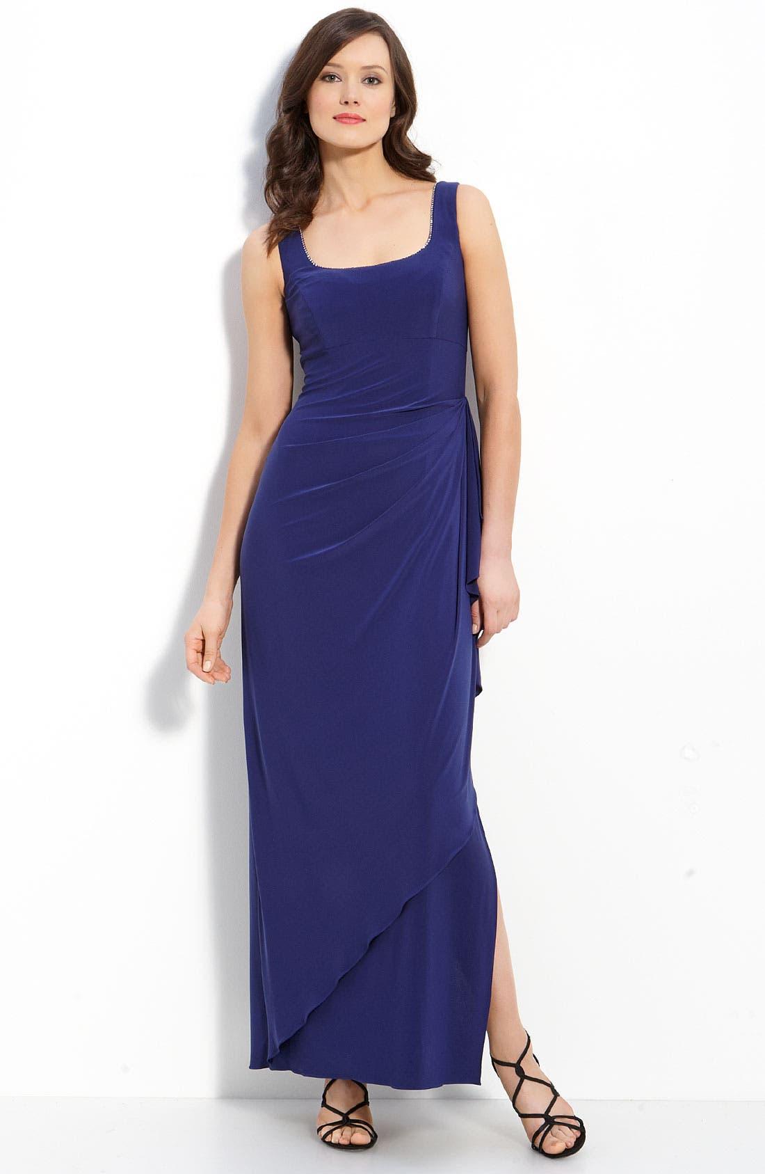 Alternate Image 2  - Alex Evenings Rhinestone Trim Jersey Dress & Bolero