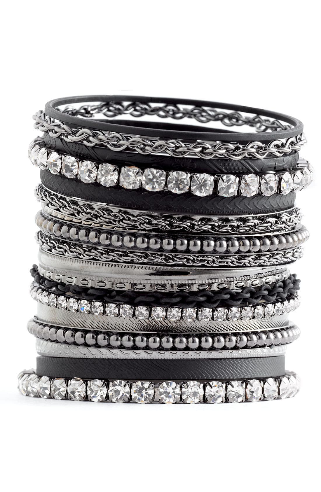 Main Image - Cara Accessories Mixed Media Bangles (Set of 18)