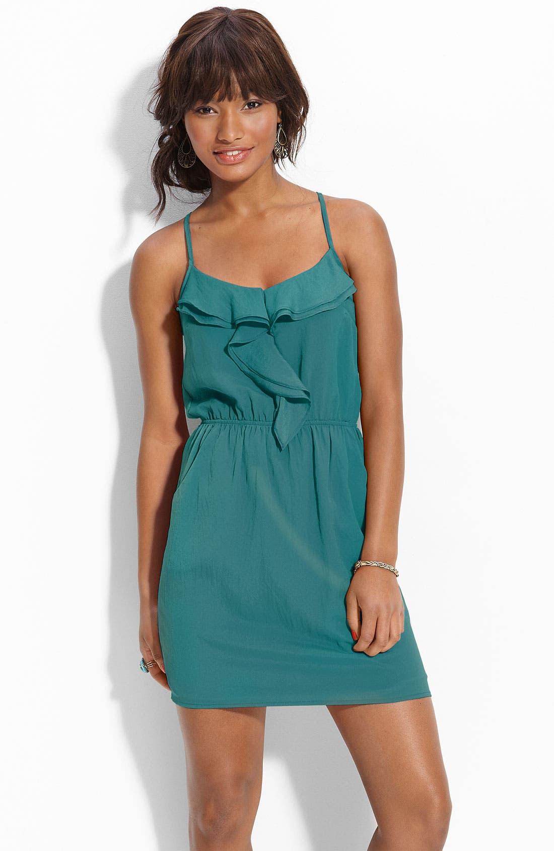 Main Image - Lush Ruffled Racerback Dress (Juniors)