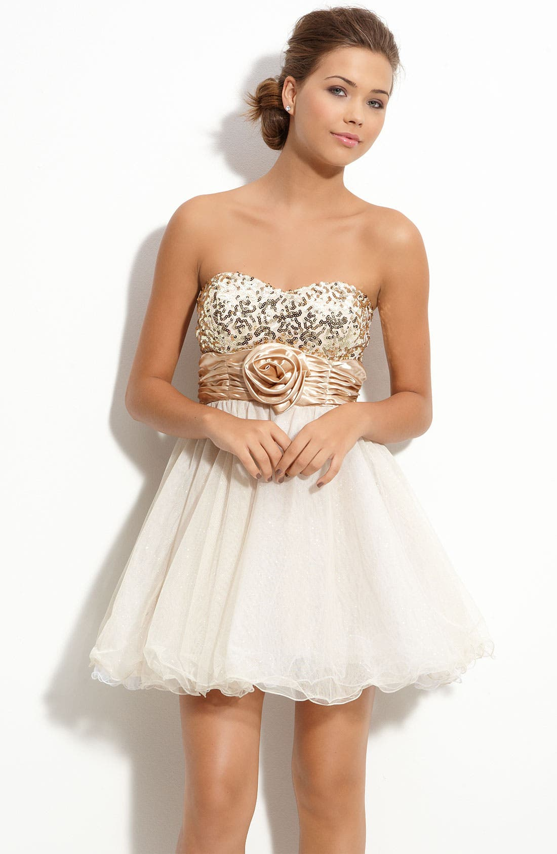Alternate Image 1 Selected - Accidentally In Love Sequin Strapless Party Dress (Juniors)