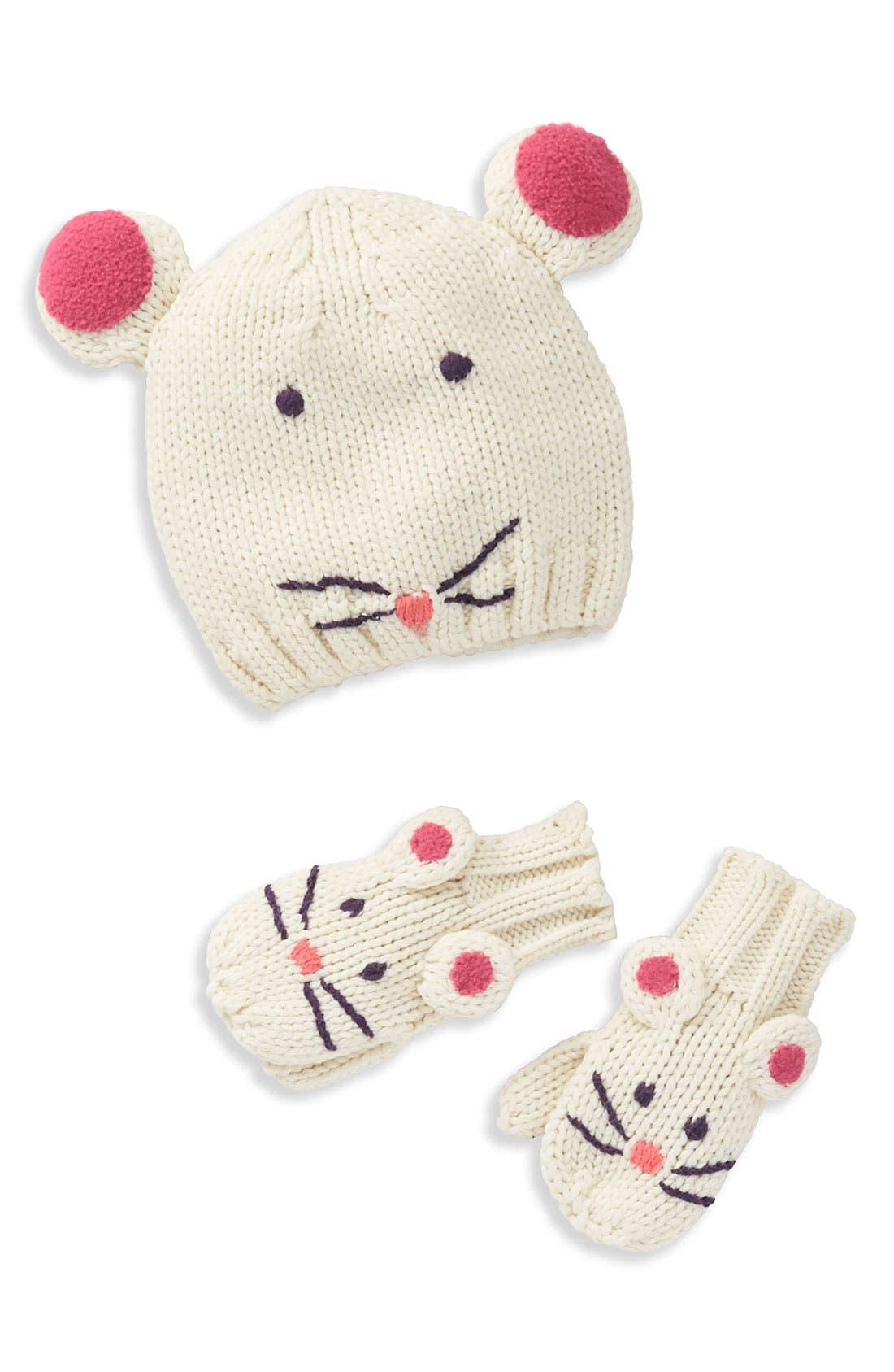 Main Image - Mini Boden Animal Hat & Mittens Set (Infant)
