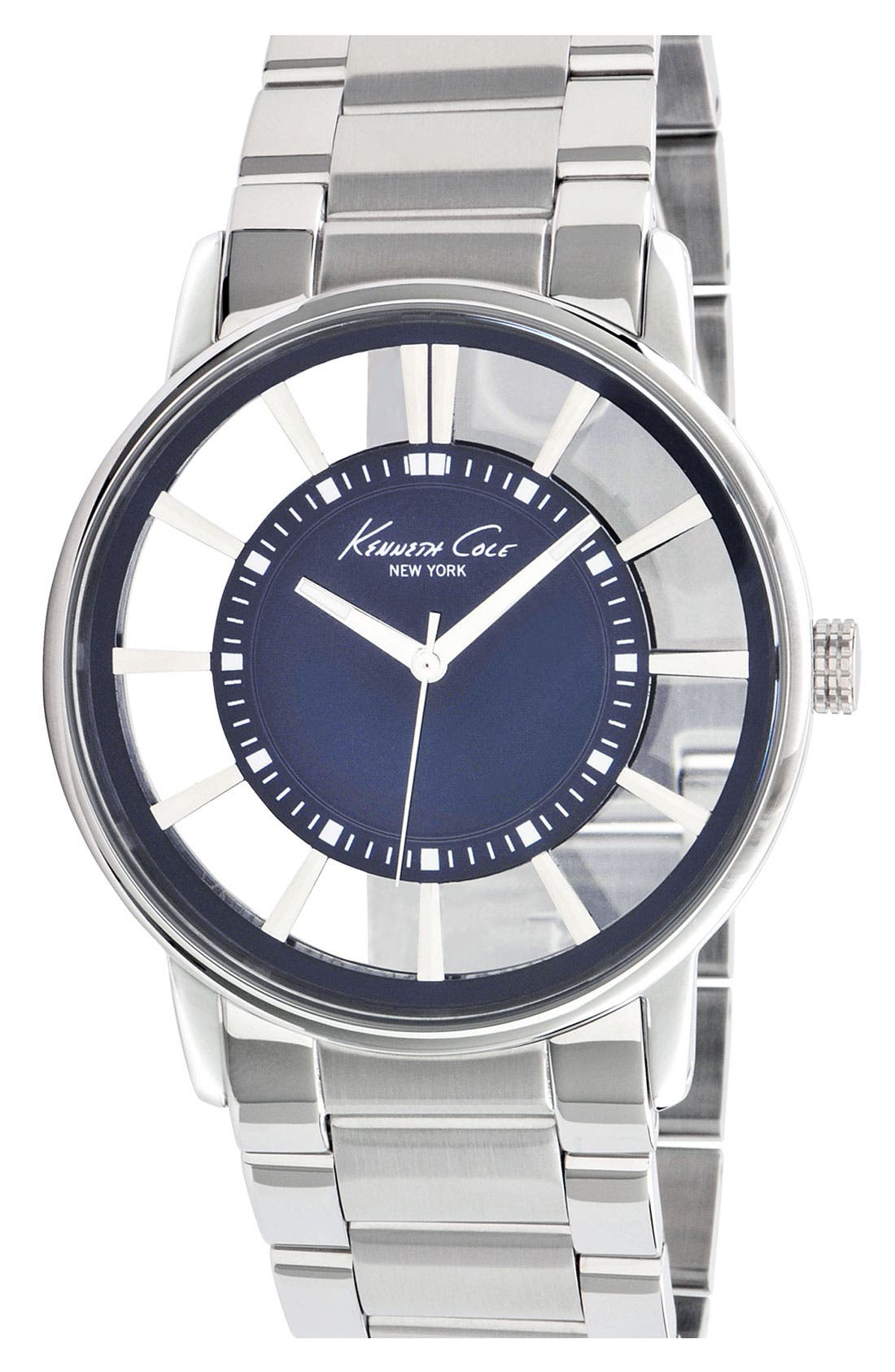 Alternate Image 1 Selected - Kenneth Cole New York Round Transparent Dial Watch