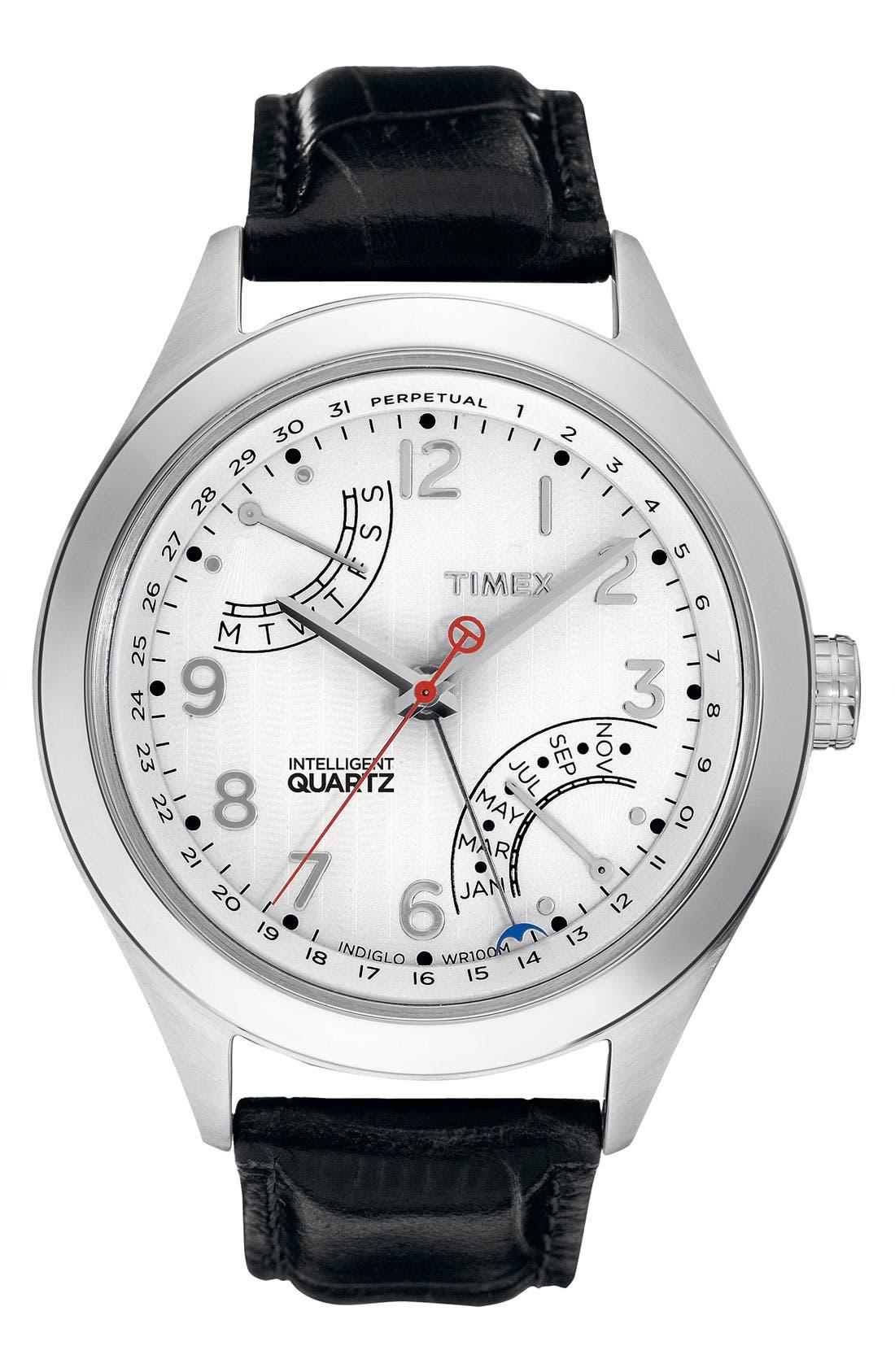 Alternate Image 1 Selected - Timex® 'Intelligent Quartz' Perpetual Calendar Leather Strap Watch