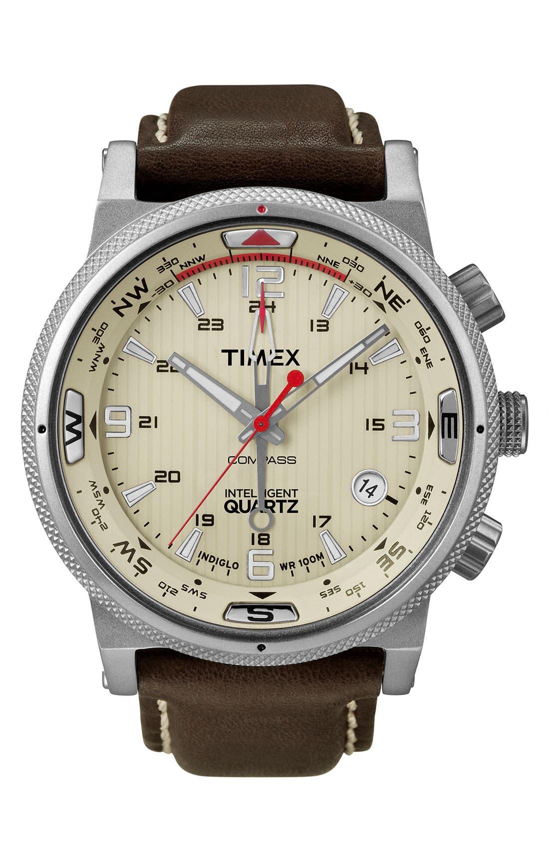 Main Image - Timex® 'Intelligent Quartz' Leather Strap Compass Watch