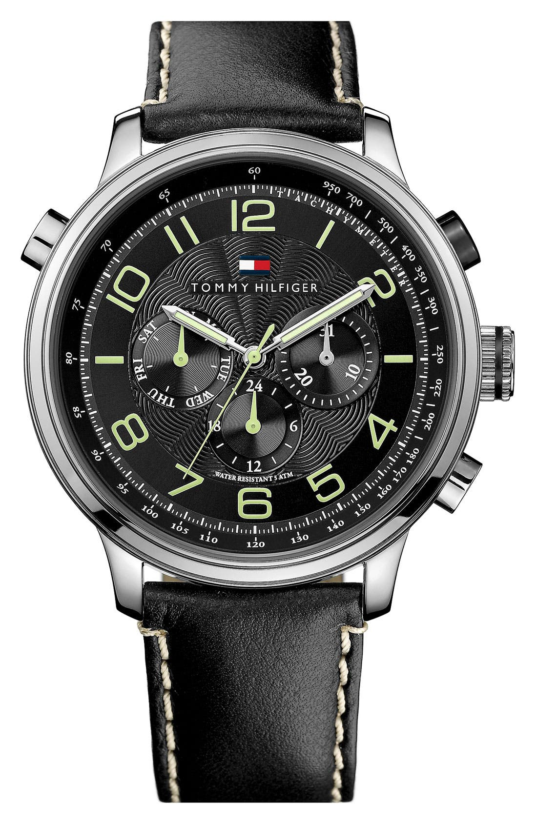 Main Image - Tommy Hilfiger Leather Strap Watch, 45mm