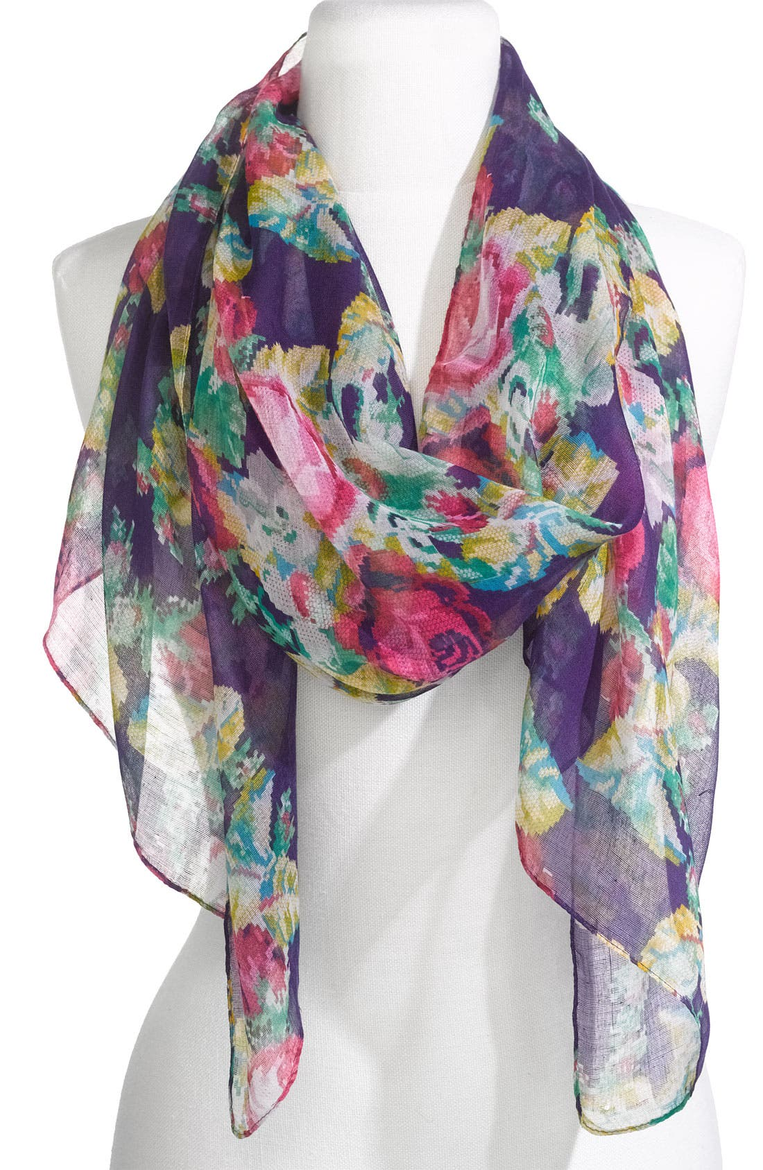 Main Image - Lulu Sheer Needlepoint Floral Scarf
