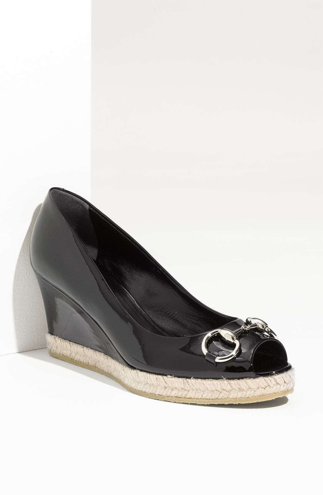 Alternate Image 1 Selected - Gucci Patent Leather Wedge Pump