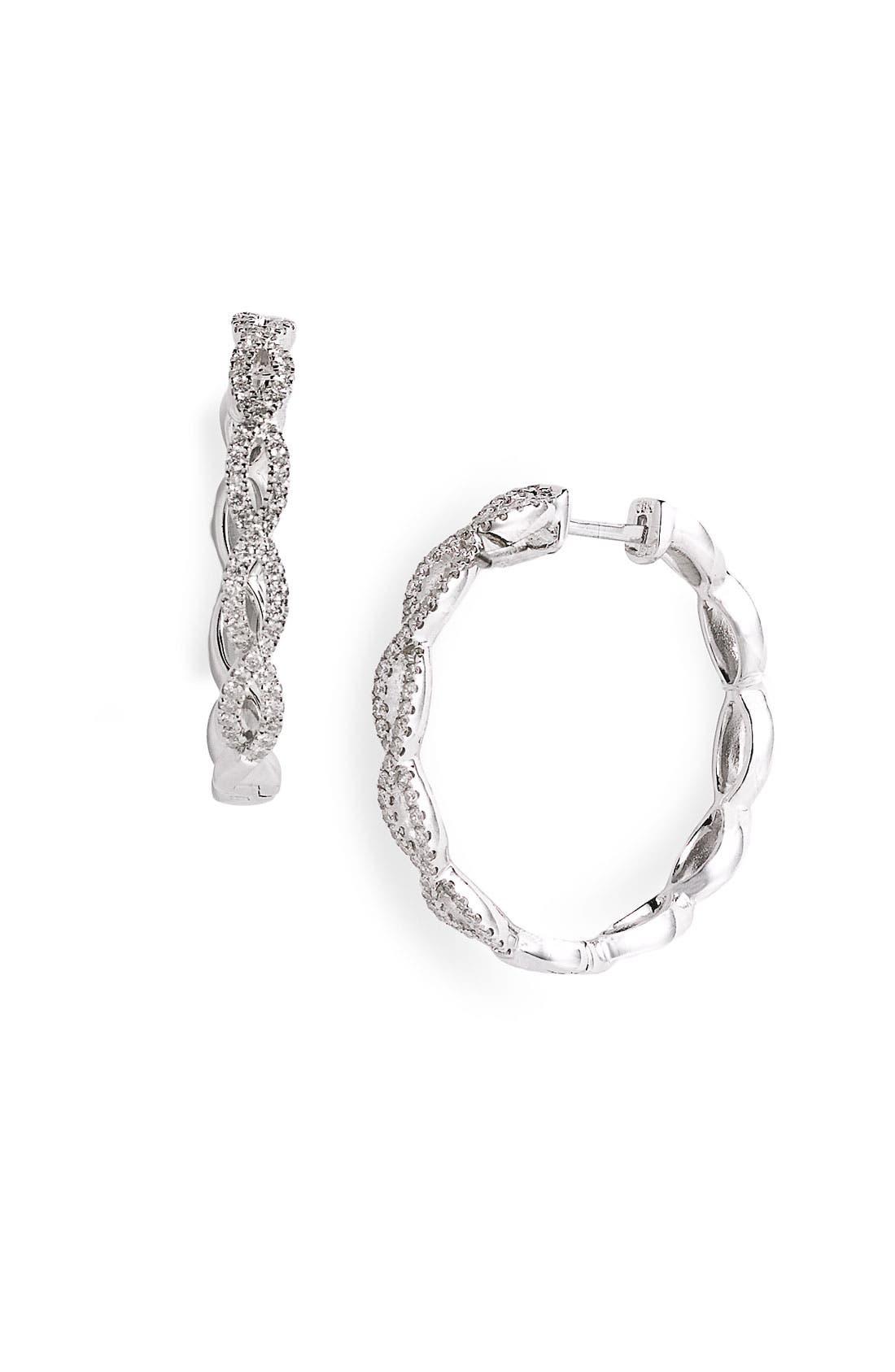 Main Image - Bony Levy Diamond Twist Hoop Earrings (Nordstrom Exclusive)
