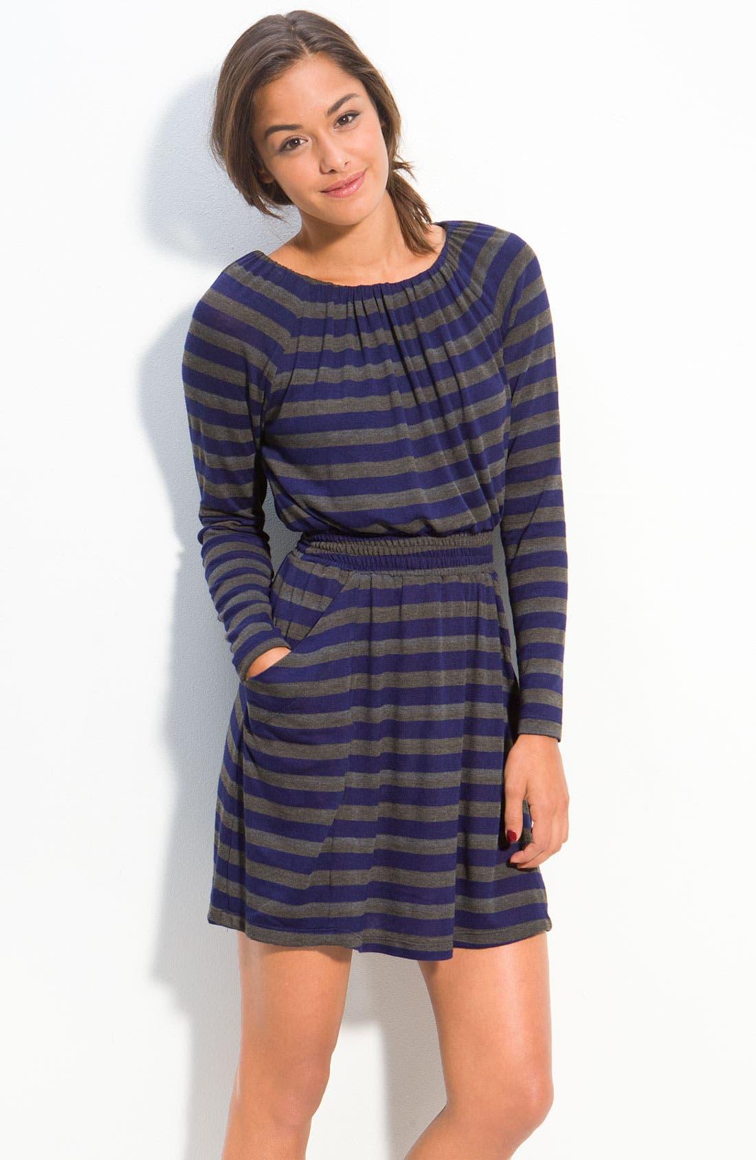 Main Image - Velvet Torch Stripe Dress (Juniors)