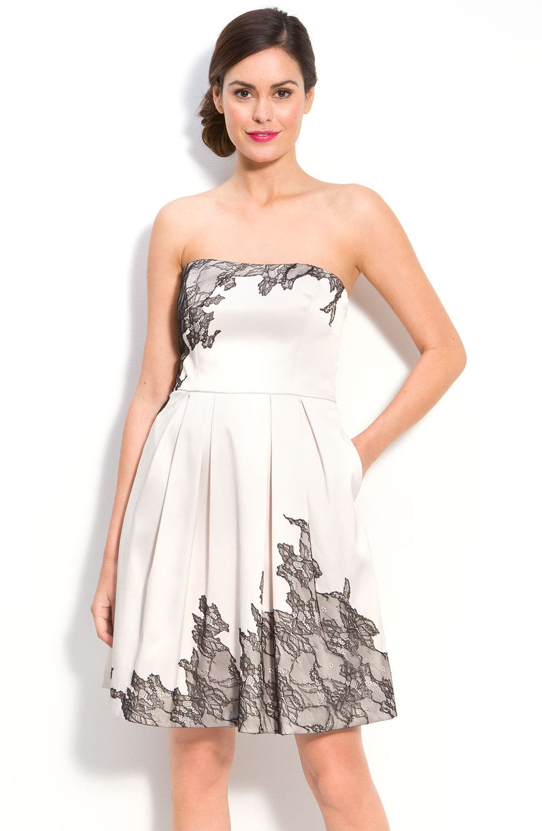 Main Image - Max & Cleo 'Kasie' Lace Overlay Satin Strapless Dress