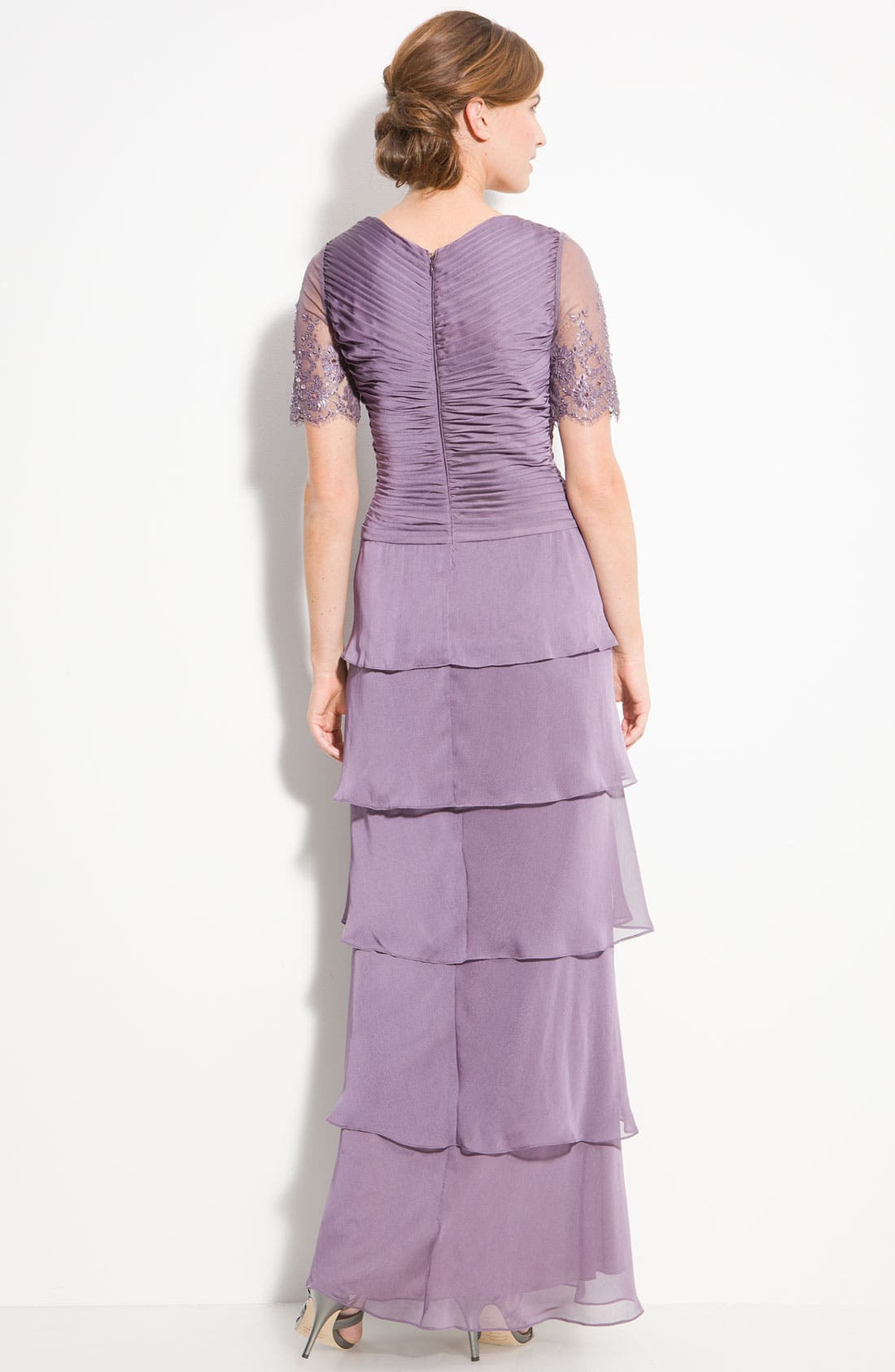Alternate Image 2  - Adrianna Papell Lace Sleeve Tiered Chiffon Gown