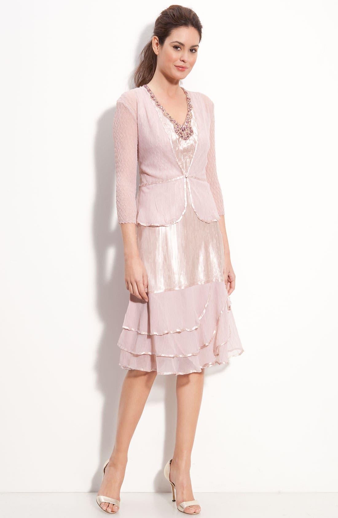 Alternate Image 1 Selected - Komarov Beaded Charmeuse & Chiffon Dress with Jacket