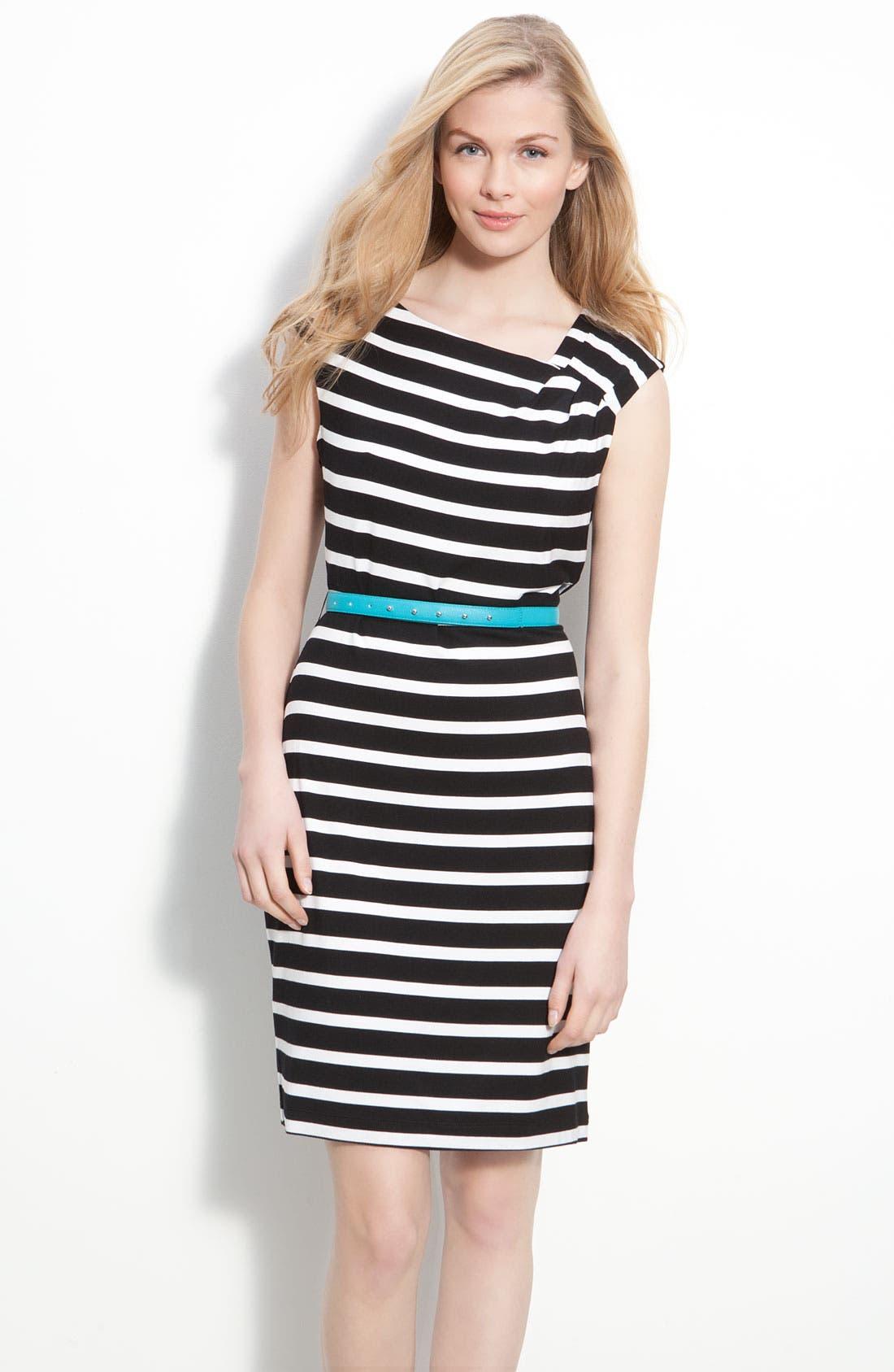 Main Image - Calvin Klein Belted Cap Sleeve Jersey Sheath Dress