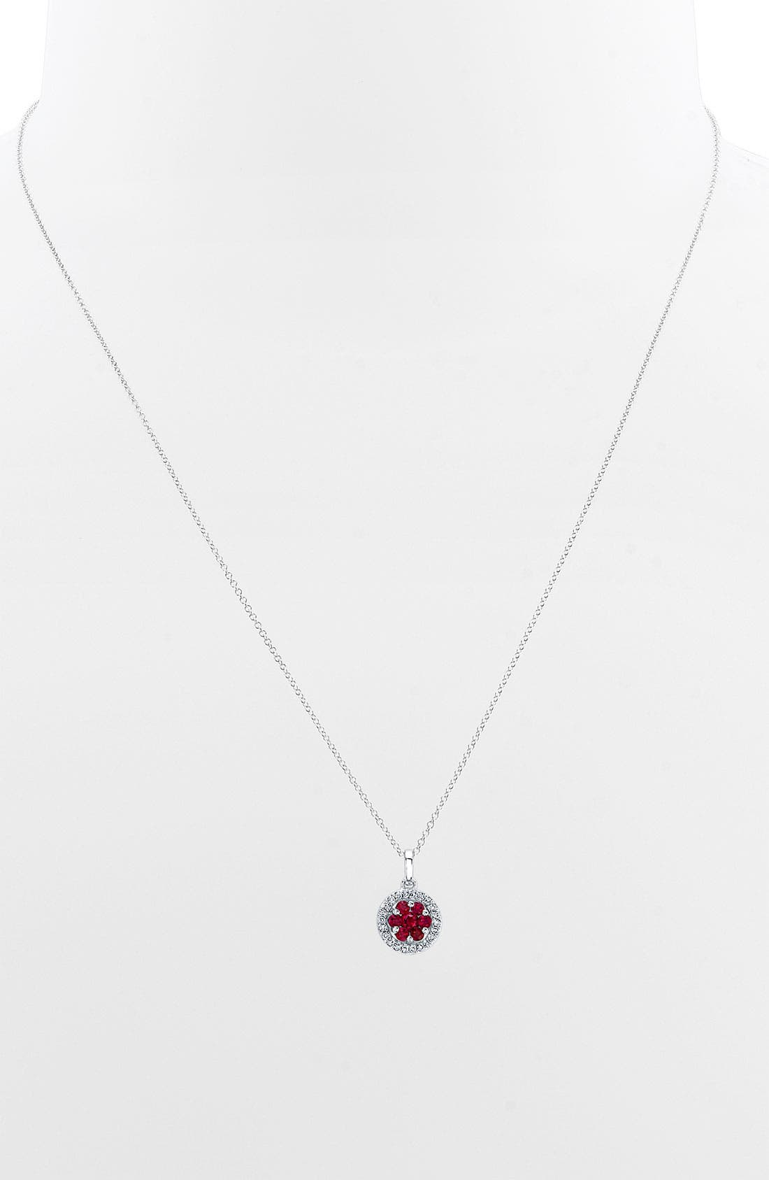 Main Image - Bony Levy Flower Button Diamond & Gemstone Pendant Necklace (Nordstrom Exclusive)