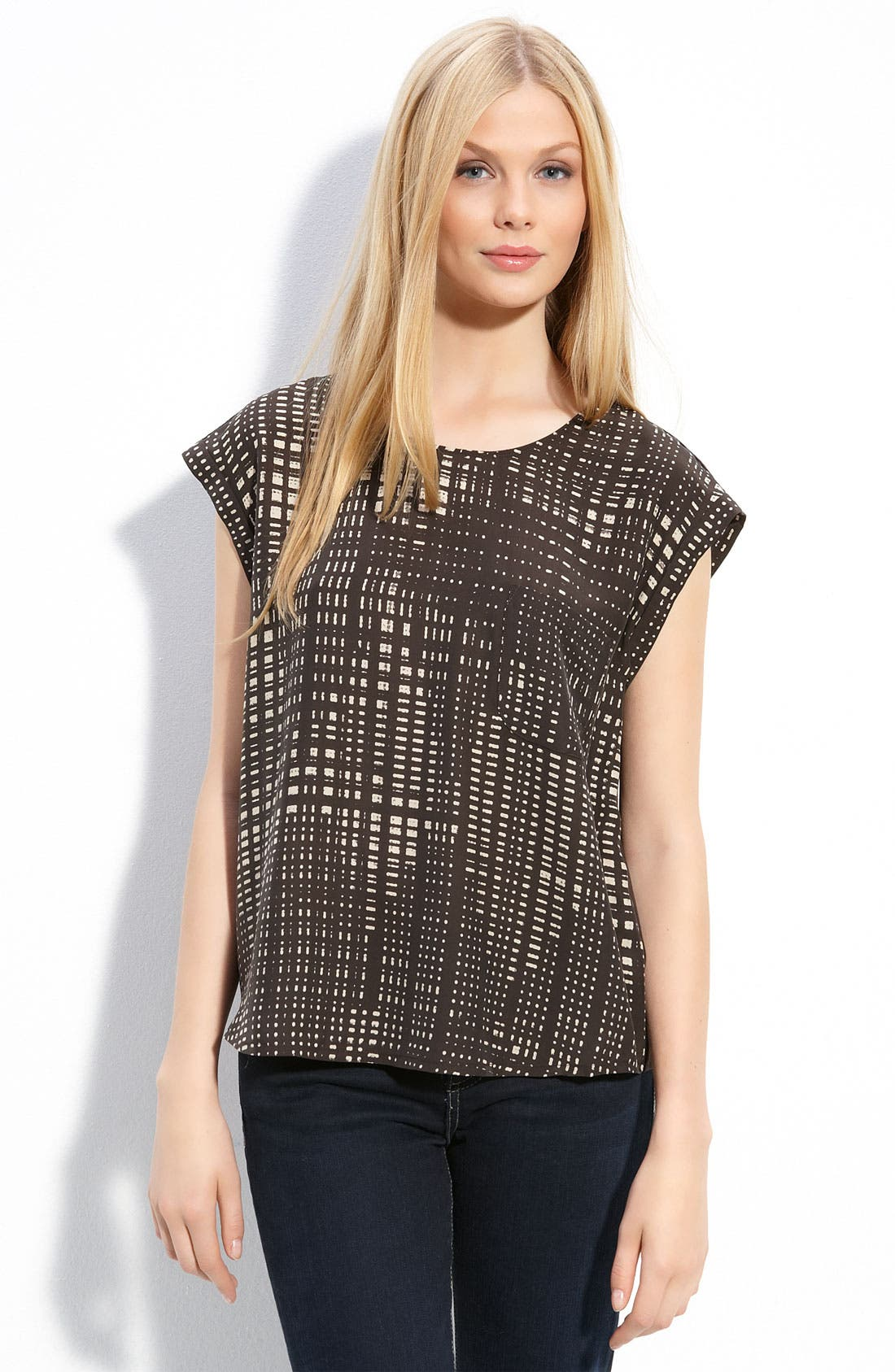 Alternate Image 1 Selected - Halogen® Cap Sleeve Blouse with Knit Back (Petite)