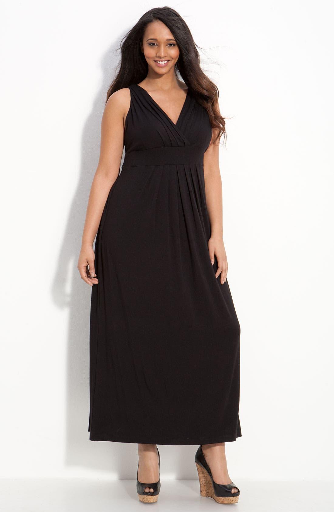 Alternate Image 1 Selected - Karen Kane Pleated Knit Maxi Dress (Plus)